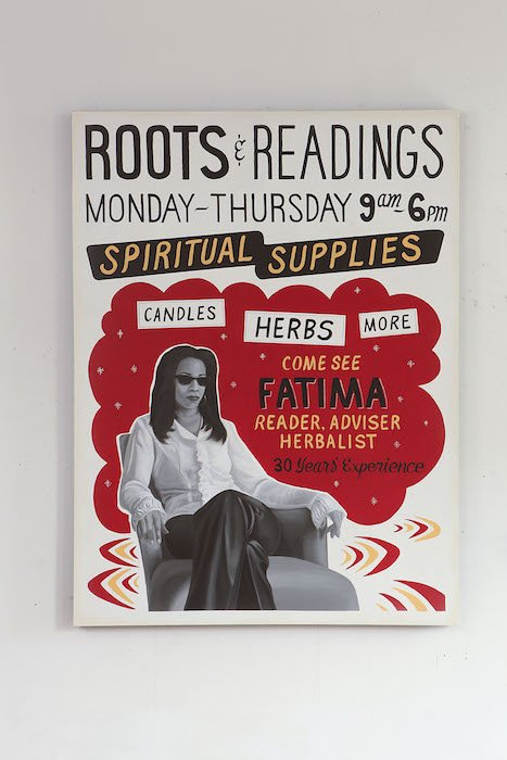 "Roots and Readings, 2013 painting (acrylic paint, latex paint, spray paint)on wood panel 48"" x 36""x1 3/4"" by Renée Stout. Courtesy of  American University Museum."