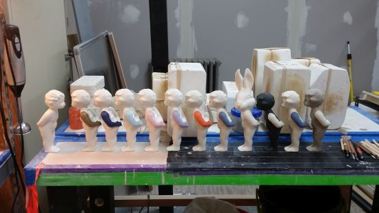 Who Am I Today? displayed in the studio alongside working molds. Photo courtesy of the Artist.