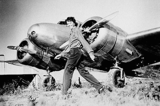 Amelia Earhart 2: Amelia Earhart and Lockheed Electra 10E NR 16020, c. 1937. (Photo via Wikimedia)