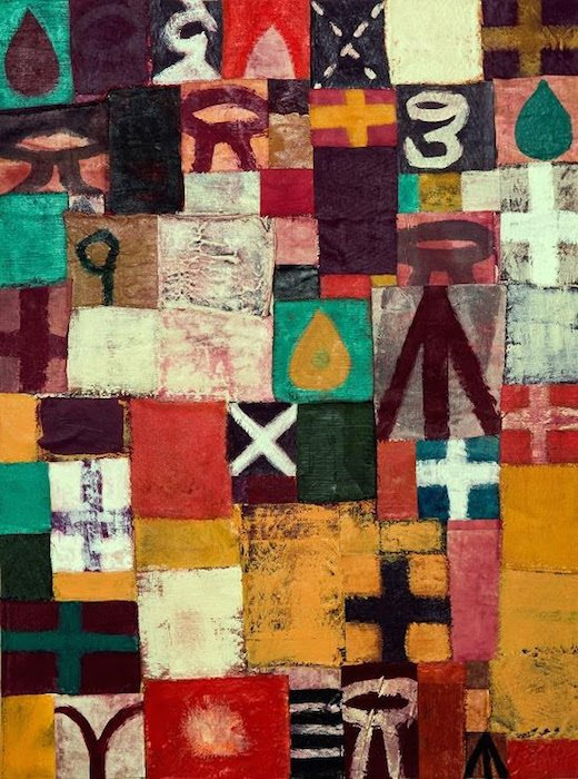 "Lexicon, 2016, 48""x36"", mixed media on canvas. Courtesy of Morton Fine Art."
