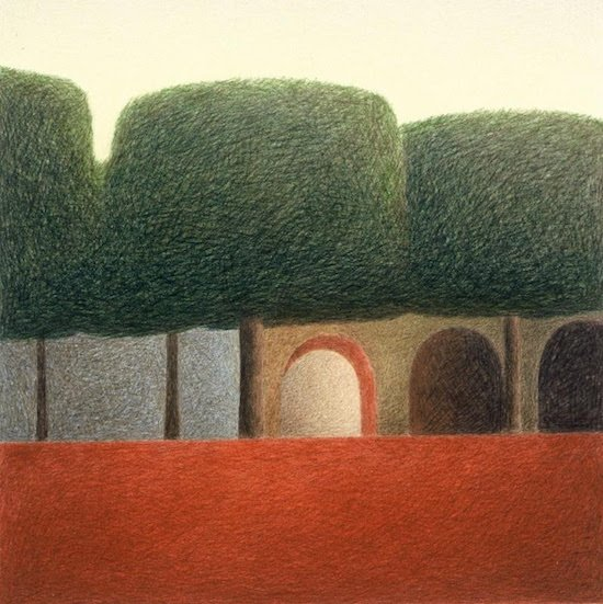 Zocalo, 1988, color pencil, graphite, 22 x 22 inches, by Kevin MacDonald. Courtesy of Adamson Gallery.