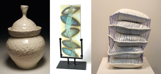 Brent Pafford, Lidded Jar, 2015, porcelain, 12 x 8 x 8 inches Nanette Bevan, Small Silver Leaves, 2015, kiln formed glass with pure silver inclusions Jenna Wright, Serenity, 2016, glazed earthenware with string, 18(H) x 12(W) x 12(D) inches Courtesy of VisArts.