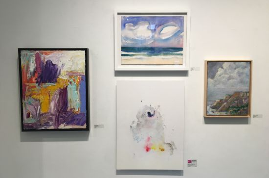 A landscape vignette with works by (clockwise from far left) Robert Goebel, Amy Sabrin, Shelley Lowenstein and Chee-Keong Kung. Photo for East City Art by Eric Hope.
