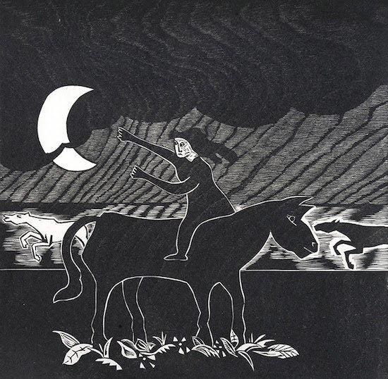 Naul Ojeda, Fleeing from the Storm, 1981. Woodblock, 2/30. Courtesy of the Alper Initiative for Washington Art.