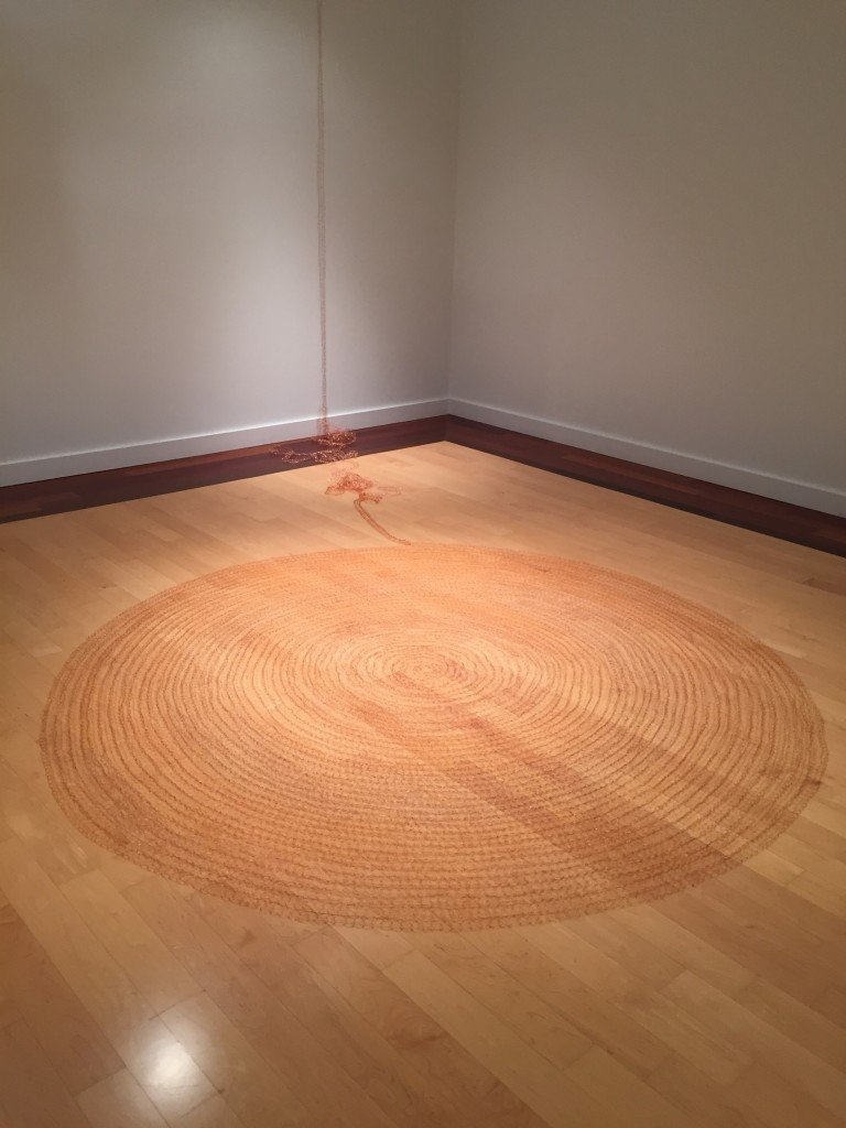"Sarah Zuckerman Dolan, Lengsel, 2016, woven copper wire 89"" diameter installation dimensions variable, Photo by Jay Hendrick"