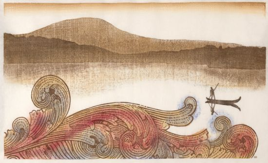 "Great Wave (2011)Japanese woodblock print; 24"" x 40"" Photo courtesy of Charles Krause/Reporting Fine Art."