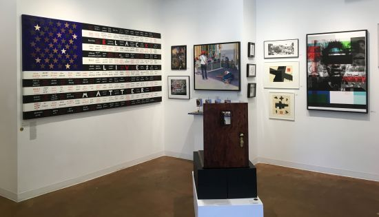 A montage of works that touch upon the Black Lives Matter movement, including pieces by Kelly Burke (far left), Amani Lewis (far left) and Janathel Shaw (on pedestal). Photo for East City Art by Eric Hope.