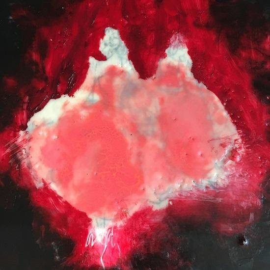 "Laurel Hausler, Pink Debs, 2016, 12""x12"", encaustic, oil and graphite on cradled wood panel. Courtesy of Morton Fine Art."