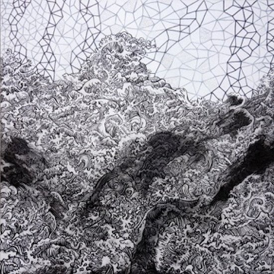 Corwin Levi, Ceiling, 2016 Brush pen, marker, and pencil on panel. Courtsey of VisArts.