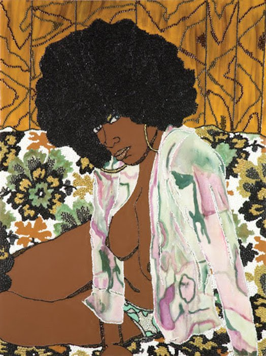 Mickalene Thomas, Whatever You Want, 2004; Acrylic, rhinestone, and enamel on panel; 48 x 36 in. Courtesy of NMWA.
