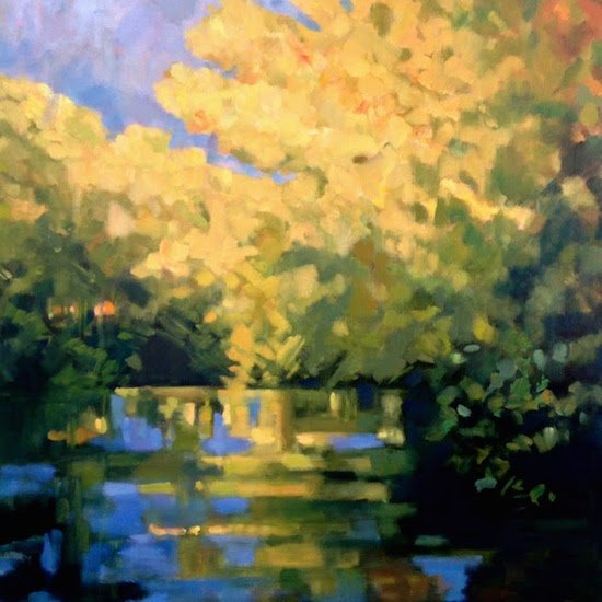 Antonia Walker, Golden Reflections, Oil on canvas, 36 x 36. Courtesy of Susan Calloway Fine Arts.