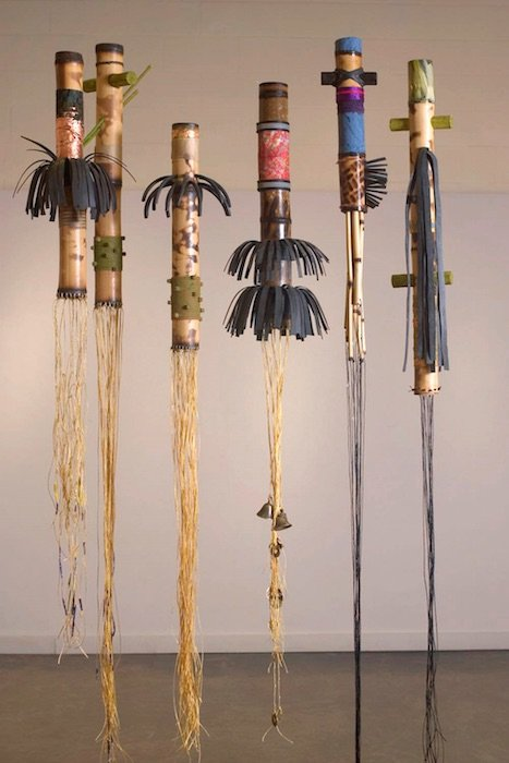 Alonzo Davis, The Mensah Series, bamboo, leather, cloth, cord, synthetic hair and mixed media, dimensions variable, 2010. Courtesy of Claudia Rousseau.