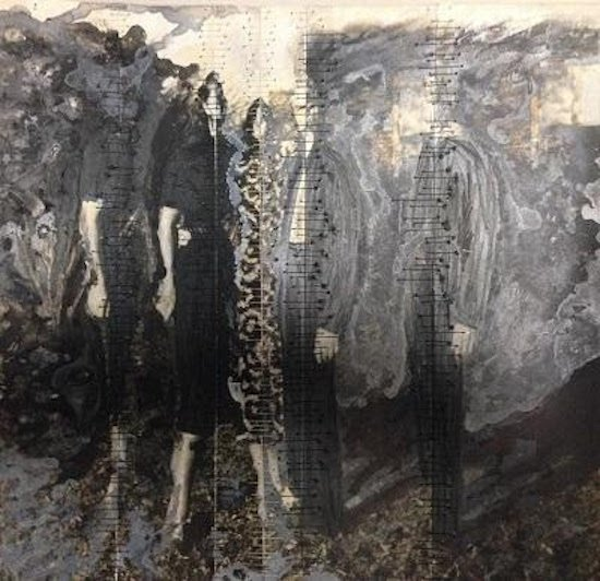 """Julia Mae Bancroft, Beyond the Pale, 2016, 10""""x10"""", collage, mixed media, and hand-stitching on photograph. Courtesy of the artist and Morton Fine Art."""