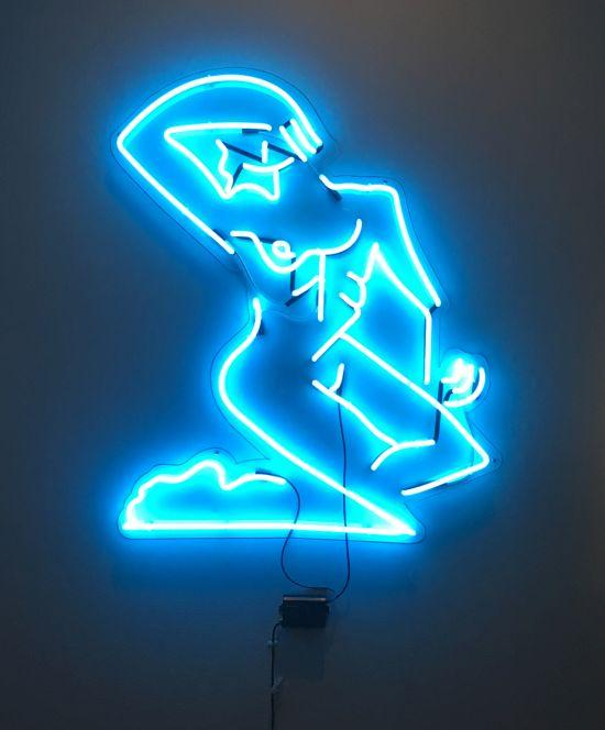 Mira Dancy, Street Ofelia (neon blue), 2014 Neon, 60 x 48 in. Photo for East City Art by Eric Hope.