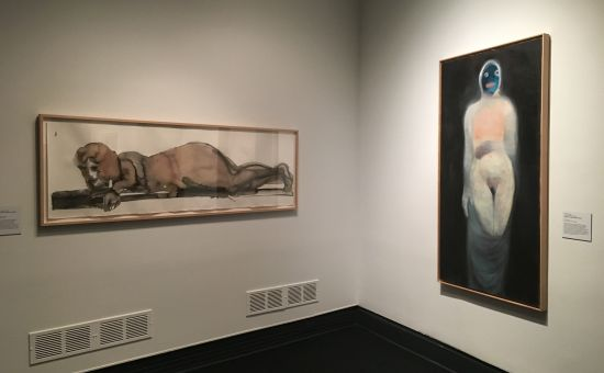 Left: Marlene Dumas, Jealousy in the Harem, 2005; watercolor and inkwash on paper, 24 x 78 3/4 in. Right: Miriam Cahn, Versehrt, 1998; oil on canvas, 67 x 34 1/2 in. Photo for East City Art by Eric Hope.