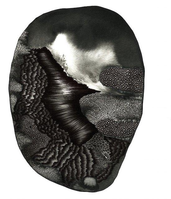 Underworld, Untitled, No. 45, ink on paper, 2016 by Rodney Cuellar. Courtesy of Centerfold Artist Studio.