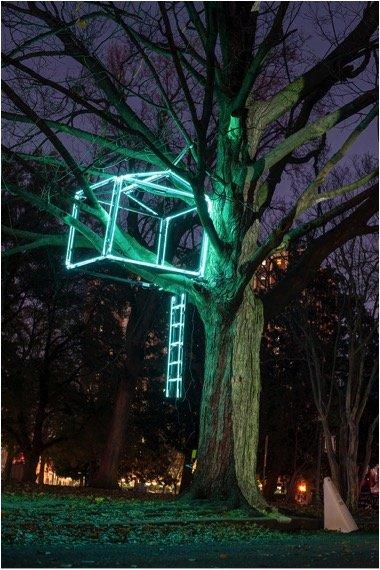 Neon Treehouse, Woodrow Collective: Joan Biddle, Hannah Kirkpatrick and Kristi Totoritis, Norfolk.