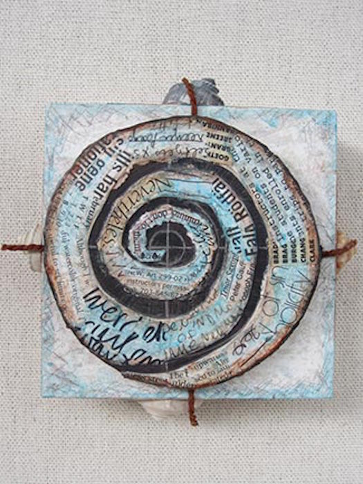 """Sherry Trachtman, Which Direction, mixed media collage, 6""""x6""""x2"""", photo courtesy of the artist."""