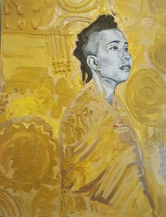Elana Casey, Akua in Gold Space, 2016, oil and mixed media on canvas, 36 x 48. Courtesy of CHACC.