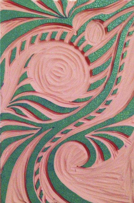 Linocut block by Katrina Villavicencio. Courtesy of Art Enables.
