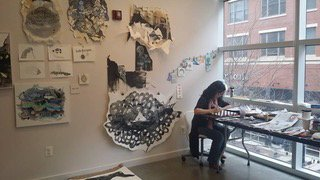 Mei Mei Chang at work in the Bresler Residency studio at VisArts. Courtesy of VisArts.