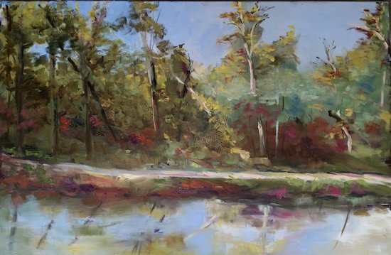 Springtime on C&O Canal by Nancy Butler, oil, 24x36. Courtesy of Gallery B.
