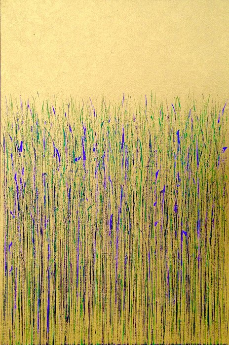 Green and Purple on Gold by Mary D. Ott. Courtesy of Touchstone Gallery.