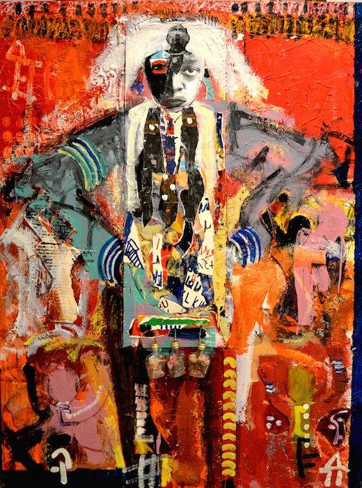 """Voodoo Man, by Ulysses Marshall. Mixed Media on Canvas, 36"""" x 48"""", 201. Courtesy of Arts/Harmony Hall."""