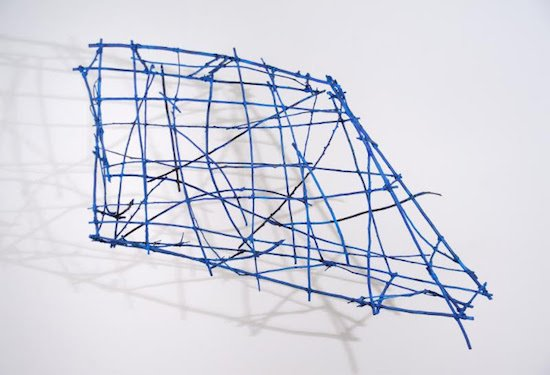 Julia Bloom, abacus, 2012, sticks, wire, & oil paint, 28 x 47 x 7 inches. Courtesy of Addison/Ripley Fine Art.