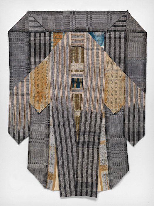 Hillary Steel, Embrace, textile - ikat, shibori, batik resist dyeing, handweaving, applique, cotton, 91 x 71 inches. Courtesy of BlackRock Center for the Arts.