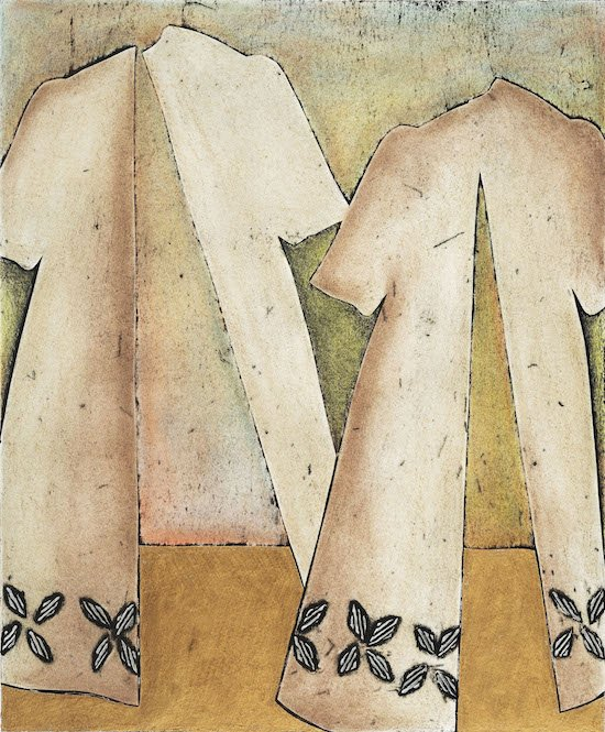Nancy McNamara, Golden Triangle, collagraph, hand colored, 23.5 x 19.5 inches. Courtesy of BlackRock Center for the Arts.