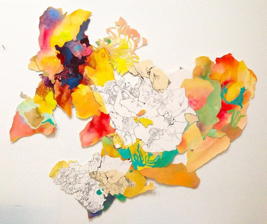 Alexandra Chiou, Continent, mixed media on paper. Courtesy of BlackRock Center for the Arts.