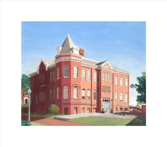 Oil portrait of the Jackson School (1890-1971) by long-time Jackson artist Arthur Day, 2017. Credit: Arthur Day. (Age 93, Arthur donated his painting to the Jackson Art Center in 2017. Will be on display at Open Studios.)