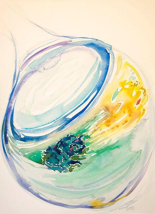 "Asterope, by Elizabeth Curren. Watercolor on Fabrianio. 22"" x 15"". 2016. Courtesy of Studio Gallery."