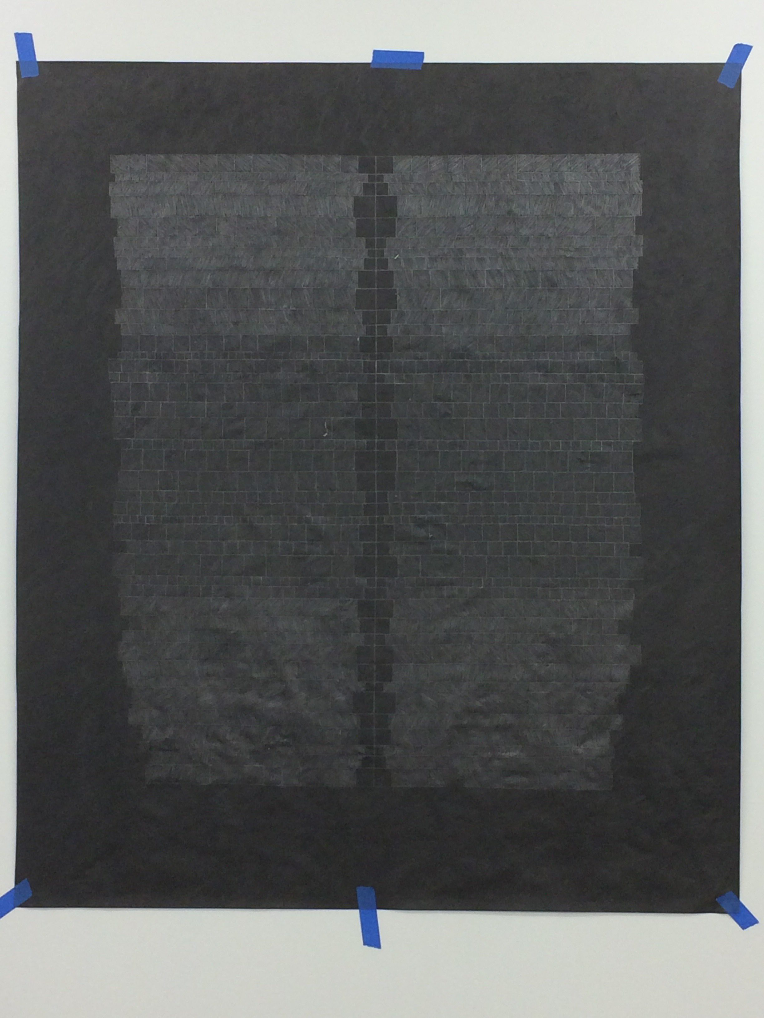 "Untitled (Black Tyvek #4), 2017, graphite on black tyvek, 50x60"", photo courtesy of Joseph Shetler"