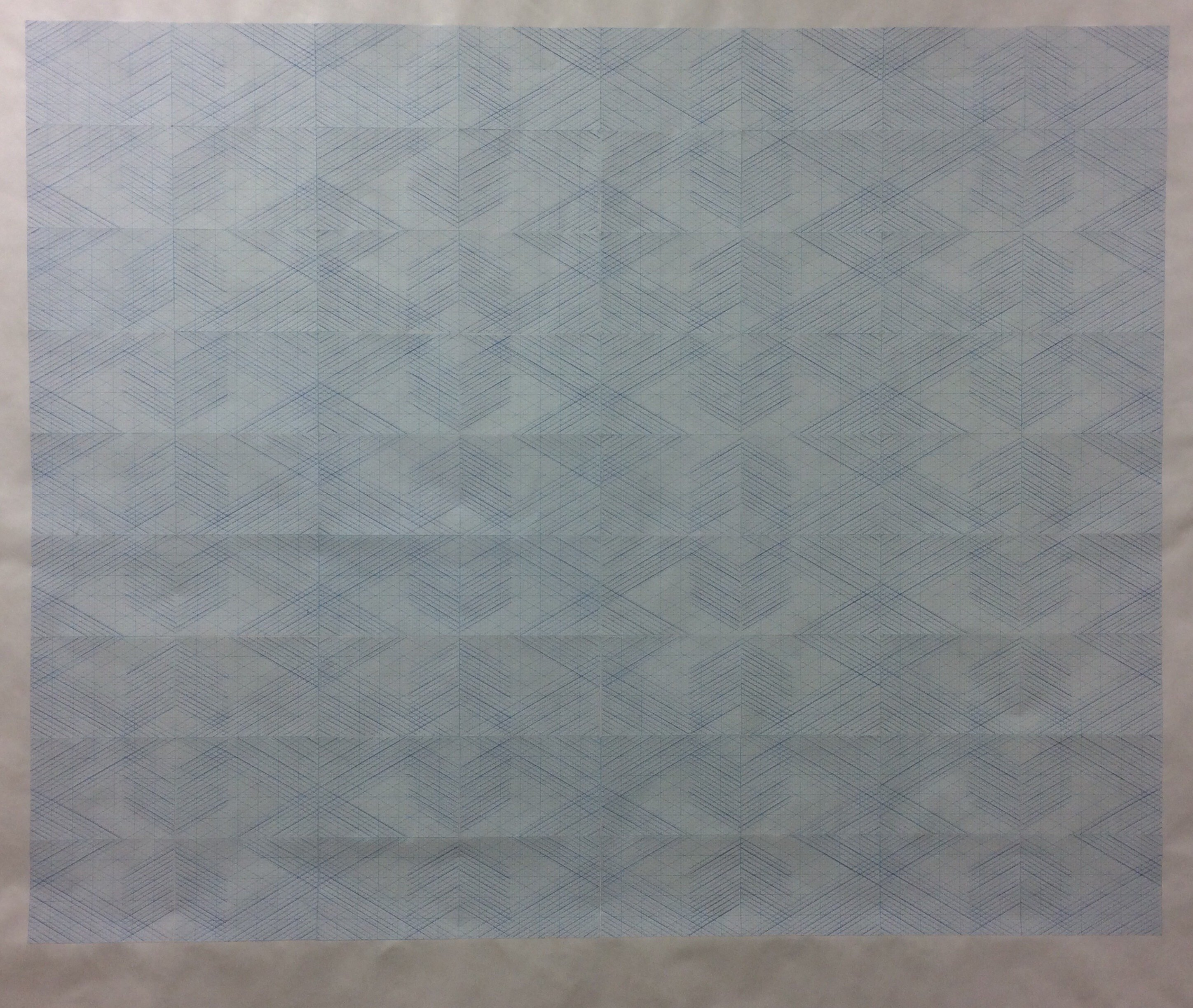 "Untitled, 2017, graph paper on tyvek and blue pencil, 50x60"", photo courtesy of Joseph Shetler"