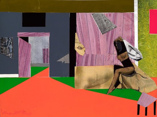 "Romare Bearden, Susanna, 1975, collage with acrylic on board, 9"" x 12"". Courtesy of HEMPHILL."