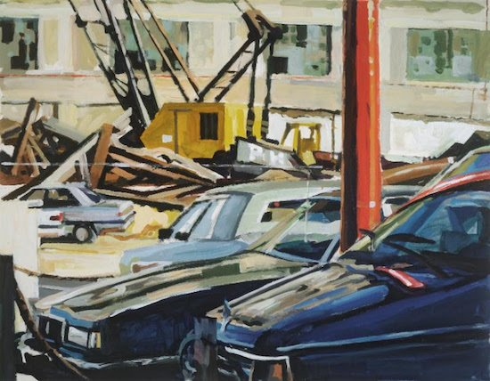 Val Lewton, Cars, Yellow Crane & Demolition, 1990, acrylic on paper, 28 x 36 inches. Courtesy of Addison/Ripley Fine Art.