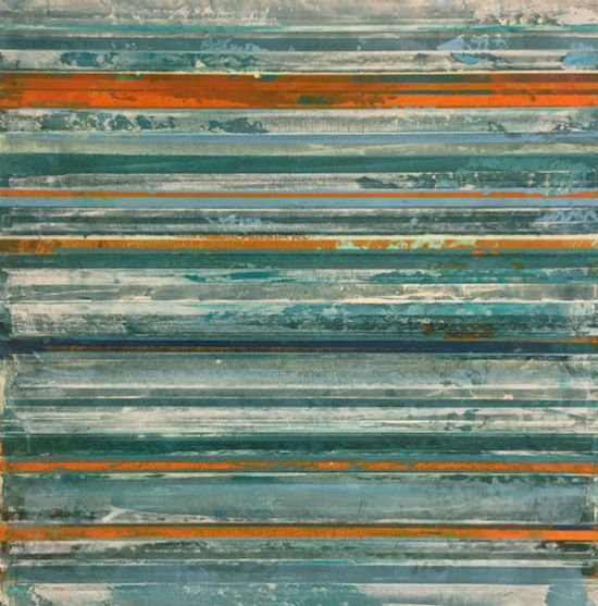 "Jeff Erickson, Refraction in Teal and Orange, oil and mixed media on panel, 12"" x12"", 2017. Courtesy of Yellow Barn Studio."