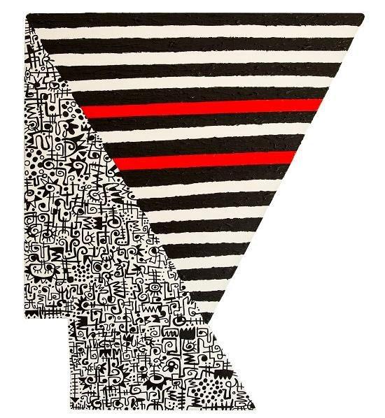 "Victor Ekpuk, Head 7, 2015, 41""x48"", acrylic on wood. Courtesy of Morton Fine Art."