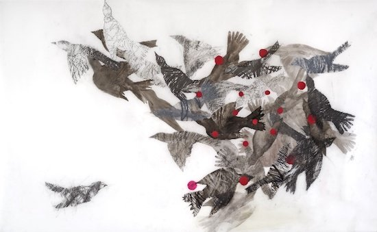 Susan Hostetier, Birds in Funnel Formation. 2014. Courtesy of the Betty Mae Kramer Gallery.