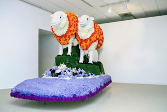 Maria Lux, Float (installation view), 2015, digitally modeled, CNC-carved Styrofoam, artificial flowers (carnations, roses, baby's breath, zinnias, buttercups, hydrangeas, greenery, and rose petals), 12 x 6 x 9 feet. Courtesy of VisArts.