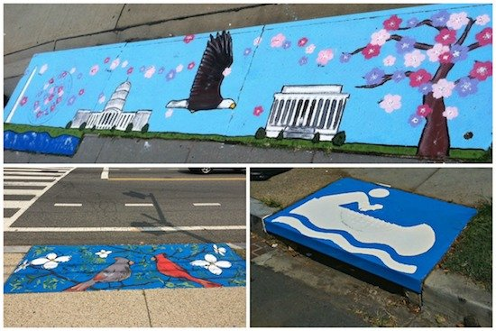 Stormdrains AWS painted in 2014 in Brookland. Courtesy of Anacostia Watershed Society.