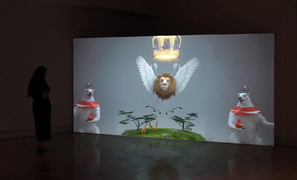 (Installation) Jonathan Monaghan, Dauphin 007, 2011, computer animation. Copyright Jonathan Monaghan. Courtesy of the artist.