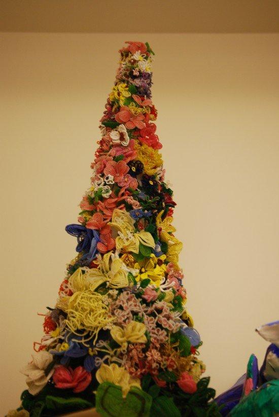 Christmas tree and ornaments made using yarn