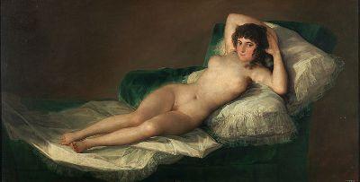"""""""Maya Desnuda (The Nude Maja)"""" by Francisco de Goya.  Photo Courtesy of Wikipedia Commons."""