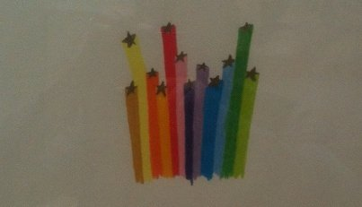 """""""Rainbow Bursts"""" (detail) by Lisa Marie Thalhammer.  Photo by Eric Hope for East City Art."""