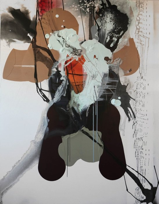 """Maggie Michael, Icon Series, 2012-2013 ink, latex, enamel, glass and spray paint on canvas, 90.25 x 70"""" 229 x 178 cm. Photo courtesy of Maggie Michael."""
