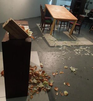 Detail following performance, Annie Rose Hanson, Dinner Time, 2012, photograph courtesy of the artist