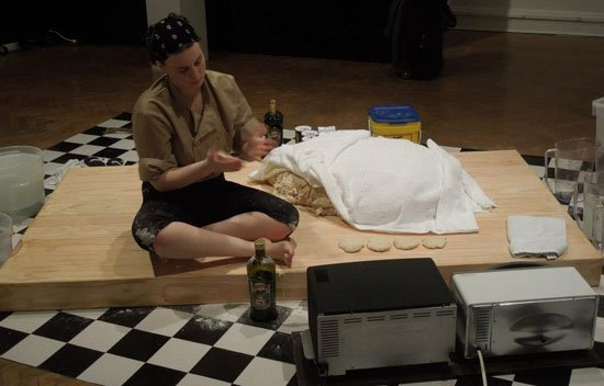 Performance detail, Annie Rose Hanson, <em>Proofing Ambivalence at Room Temperature</em>, 2013, photograph courtesy of the artist